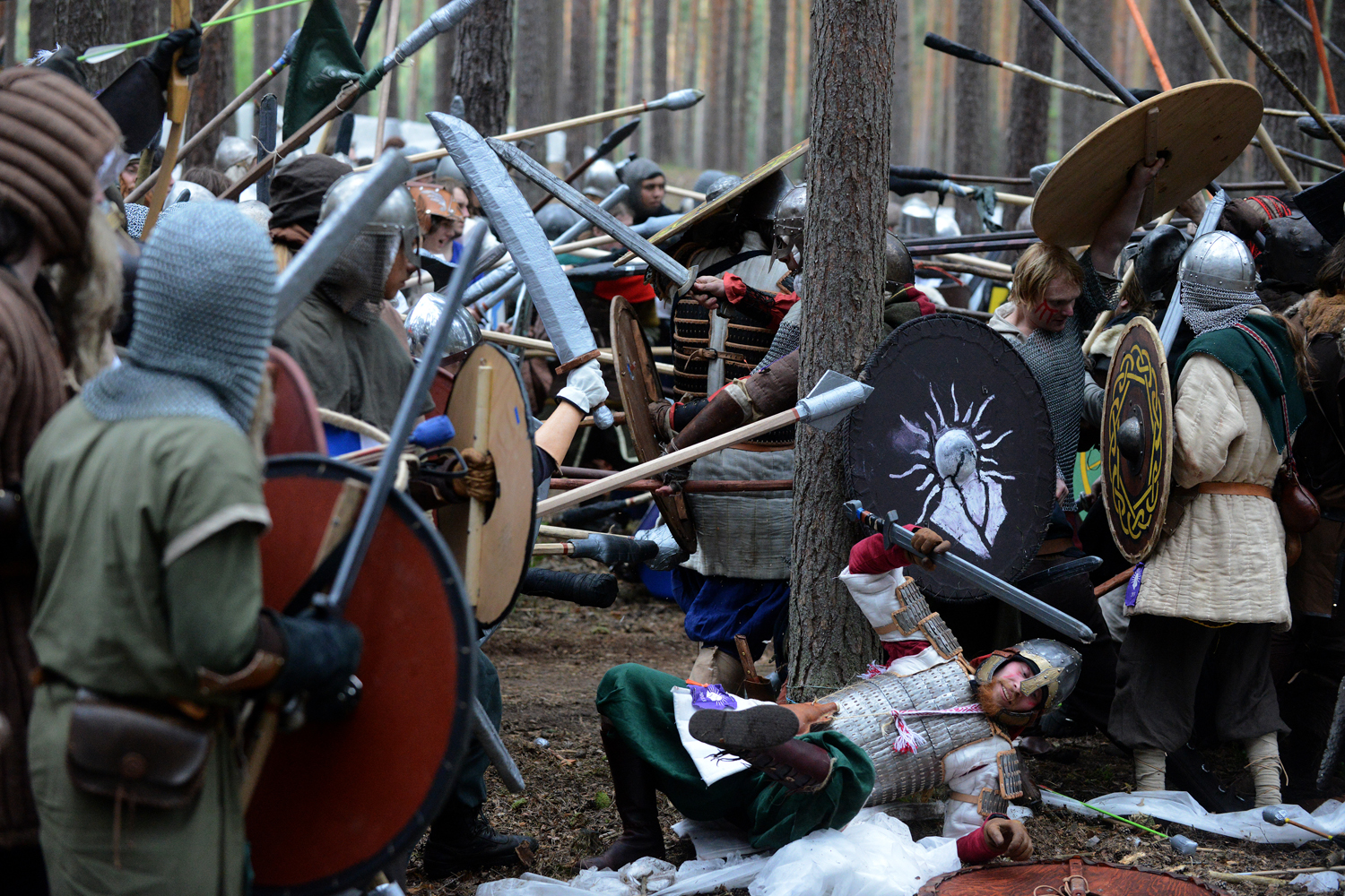 May 25, 2013. Fans dressed as characters of the Tolkien classic The Hobbit take part in the reenactment of a battle in a forest near the village of Doksy, northern Czech Republic.