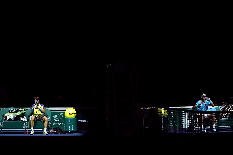 Nov. 2, 2013. David Ferrer (L) of Spain and his compatriot Rafael Nadal (R) during a break in their semi final match at the BNP Paribas 2013 Masters tennis tournament in Paris.