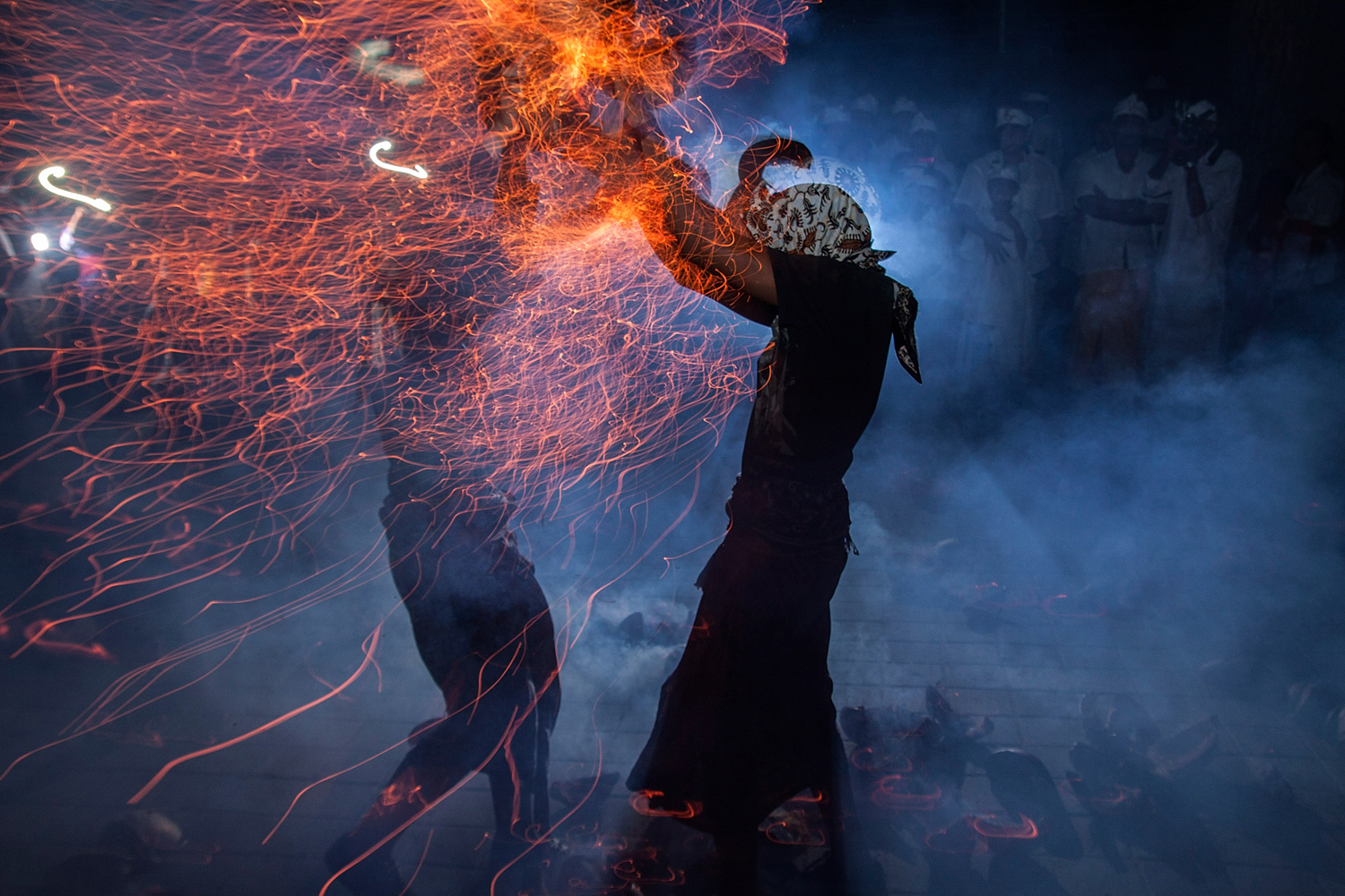 Oct. 19, 2013. Participants fight during fire war ceremony at Dalem Temple in Tuban, Kuta, Indonesia.