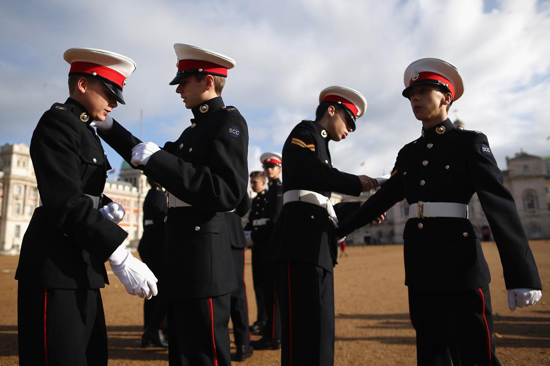 Oct. 20, 2013. Royal Marine Cadets prepare ahead of National Trafalgar Day in London.
