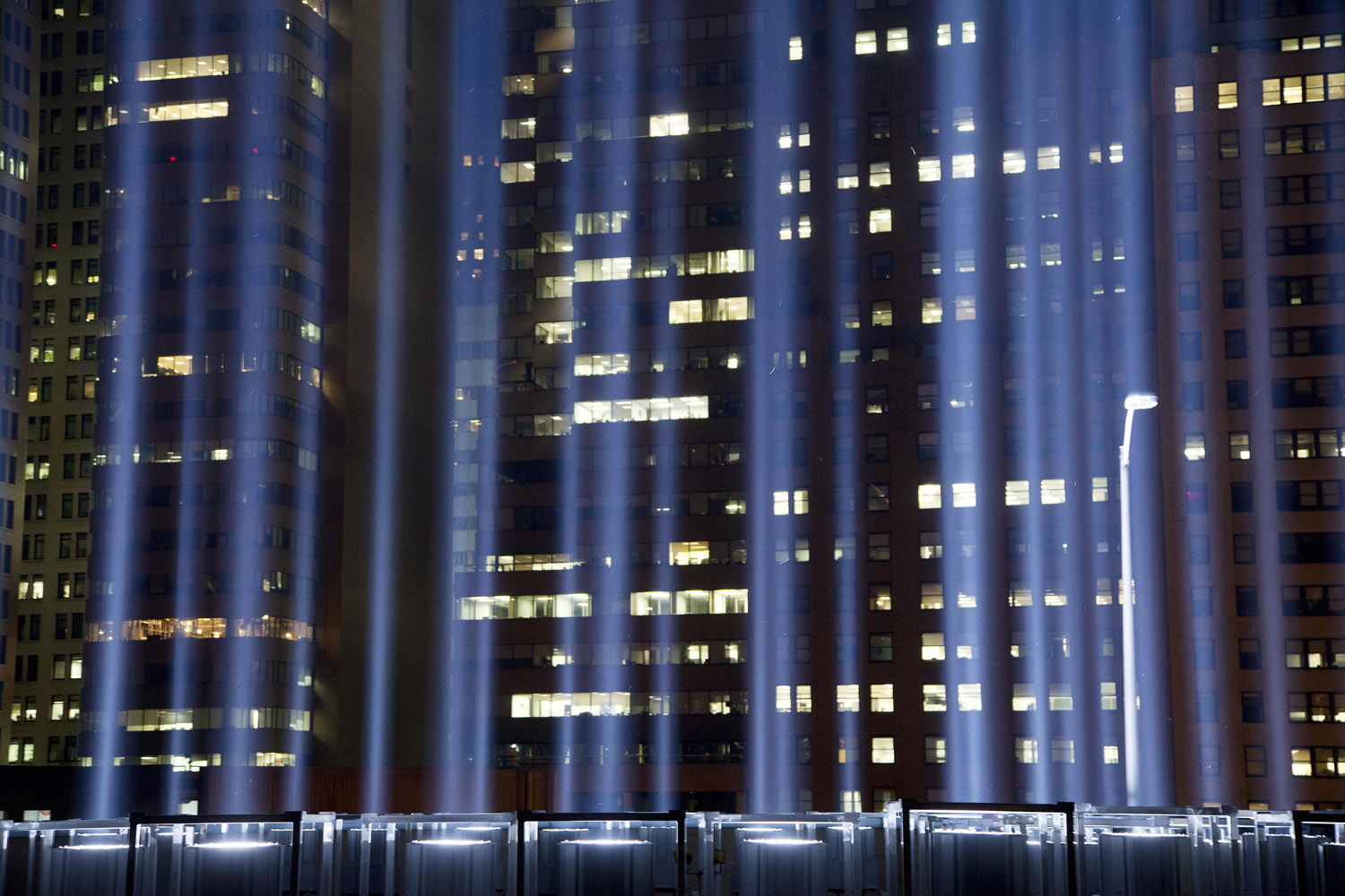 Sept. 10, 2013. The Tribute in Light rises above buildings in lower Manhattan during a test in New York.