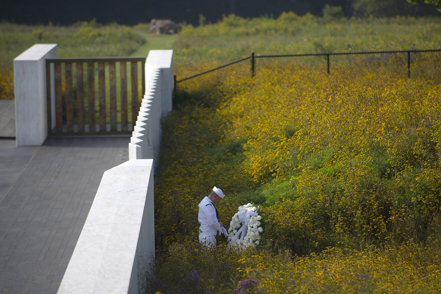 Sept. 11, 2013. A Navy honor guard prepares a wreath before the arrival of United States Secretary of the Interior Sally Jewell at the Flight 93 National Memorial during ceremonies commemorating the 12th anniversary of the 9/11 attacks on in Shanksville, Pa.