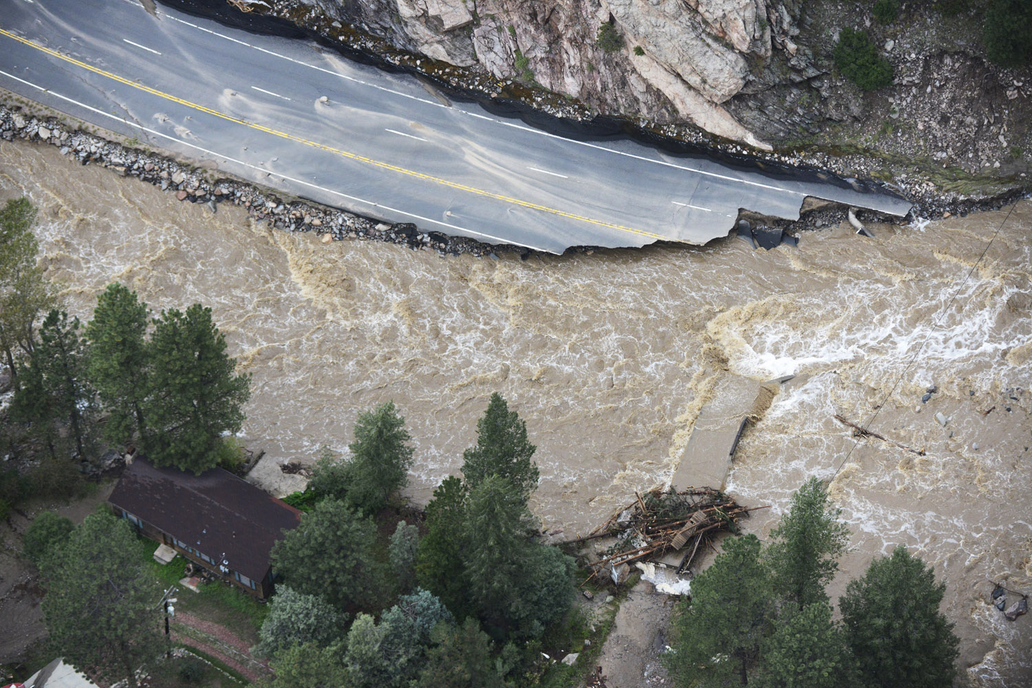 Sept. 14, 2013. A large section of Colorado U.S. 34 completely washed out from recent flooding of the Big Thompson River in the Big Thompson Canyon in Larimer County Colorado.