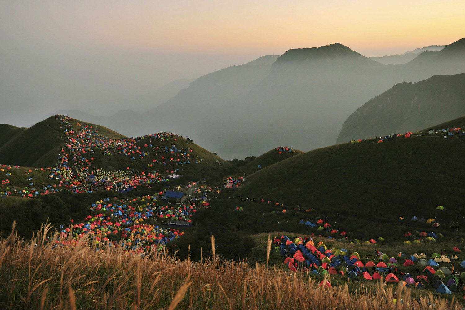 Sept. 15, 2013. Numerous tents are seen during the 2013 International I Camping Festival in Mount Wugongshan of Pingxiang, Jiangxi province, China.