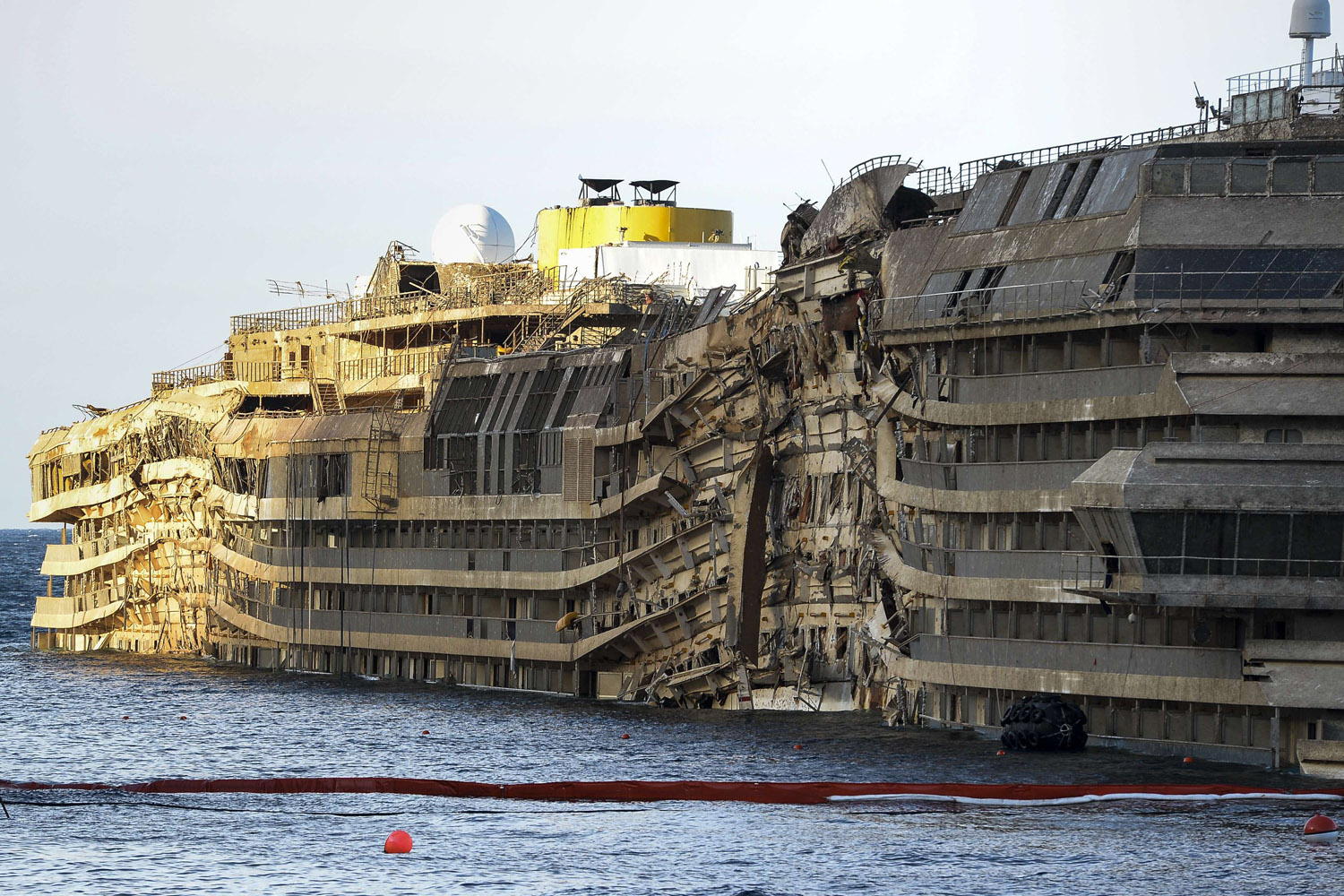 Sept. 17, 2013. A view of the wreck of Italy's Costa Concordia cruise ship after emerging from water near the harbour of Giglio Porto, Italy.