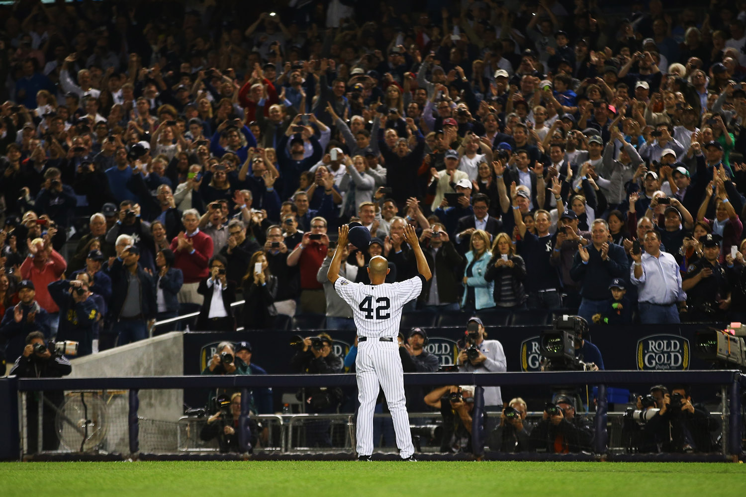 Sept. 26, 2013. Mariano Rivera #42 of the New York Yankees waves to the crowd after leaving the game against the Tampa Bay Rays in the ninth inning  during their game at Yankee Stadium in the Bronx borough of New York City.