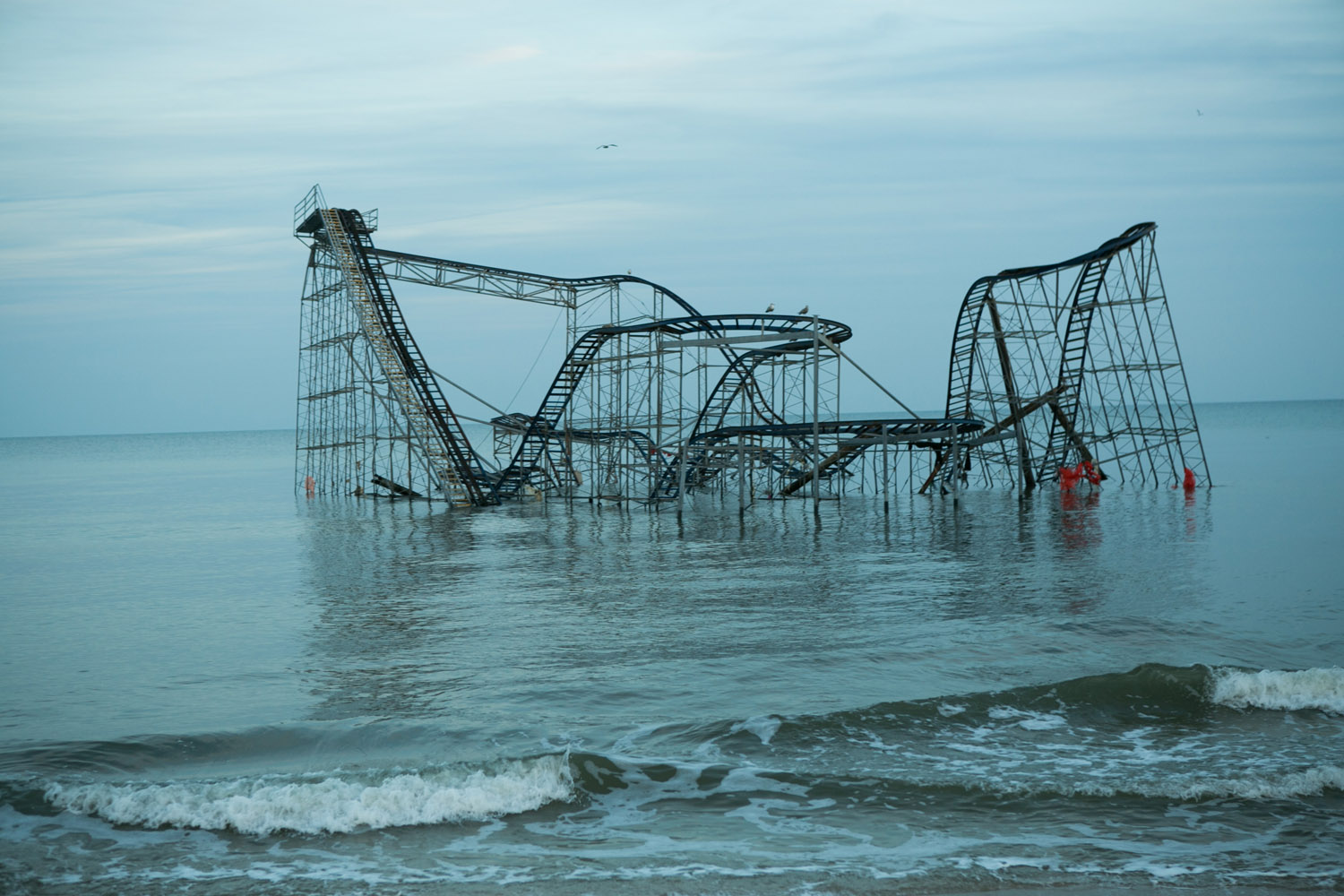 Jan. 5, 2013. The roller coaster knocked off the amusement pier by Hurricane Sandy is seen partially submerged in the Atlantic Ocean in Seaside Heights, New Jersey.