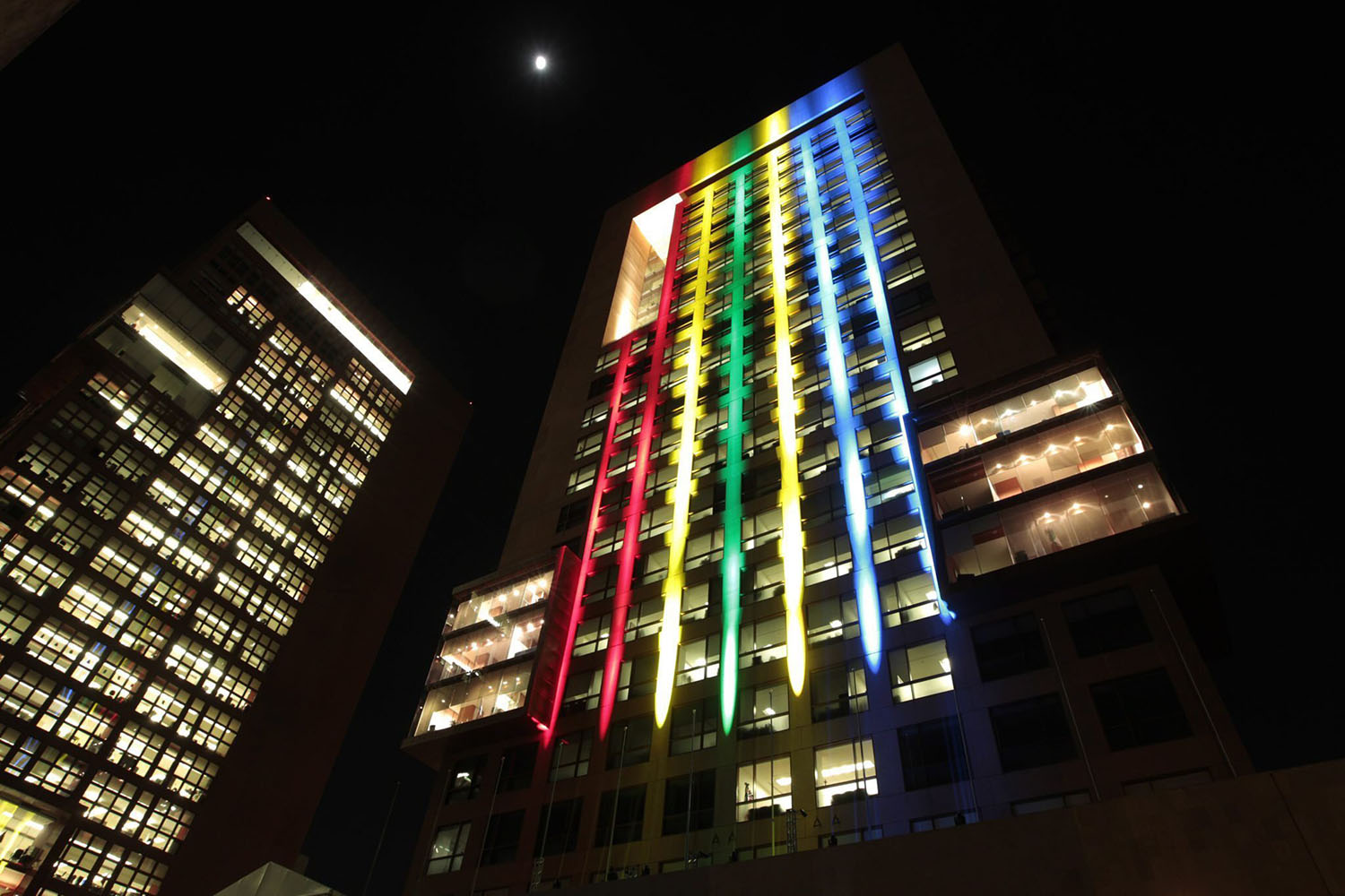 Dec. 11, 2013. A photo provided by the office of the Secretary of Foreign Affairs of Mexico on Dec. 12, 2013 shows it's headquarters being illuminated with the colors of the South African flag in honor of deceased late president of South Africa, Nelson Mandela, in Mexico City.