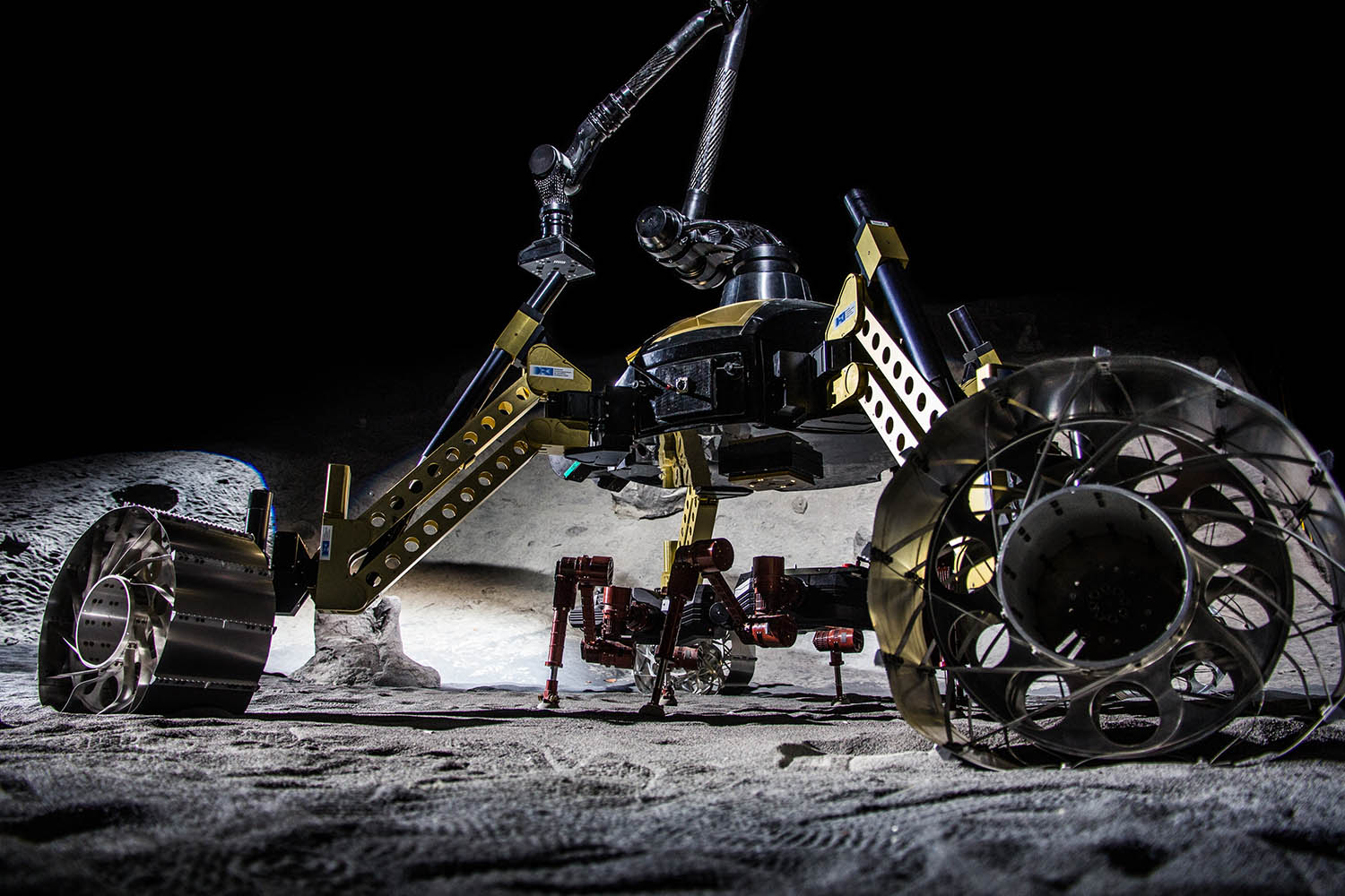 Undated. A photo released on Jan. 14, 2013 by the German Research Center for Artificial Intelligence (DFKI), shows a robot duo that could search for water one day on the moon in Bremen, Germany.