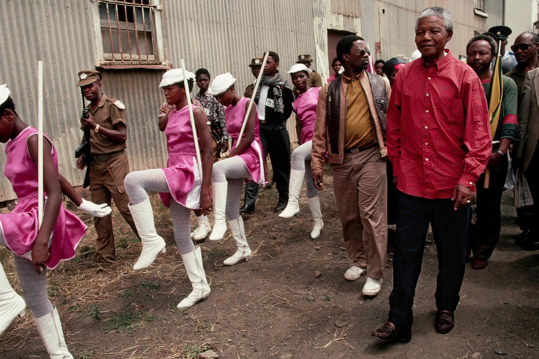 Mandela campaigns for the presidency of South Africa in the Zulu area of KwaZulu-Natal. 1994.