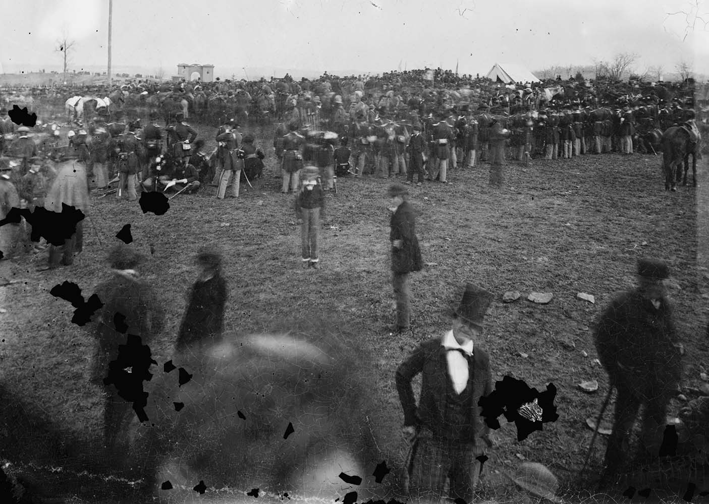 Nov. 19, 1863. This photo made available by the Library of Congress on Nov. 19, 2013 shows the crowd assembled for President Abraham Lincoln's address at the dedication of a portion of the battlefield at Gettysburg, Pa. as a national cemetery.