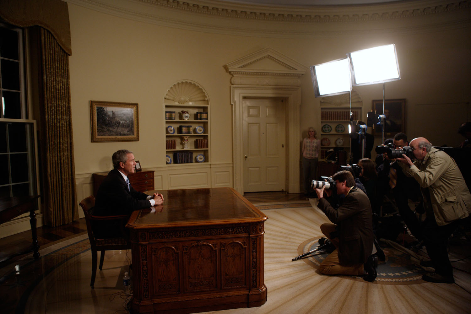 President George W. Bush is photographed shortly after delivering a speech from the Oval Office December 18, 2005.