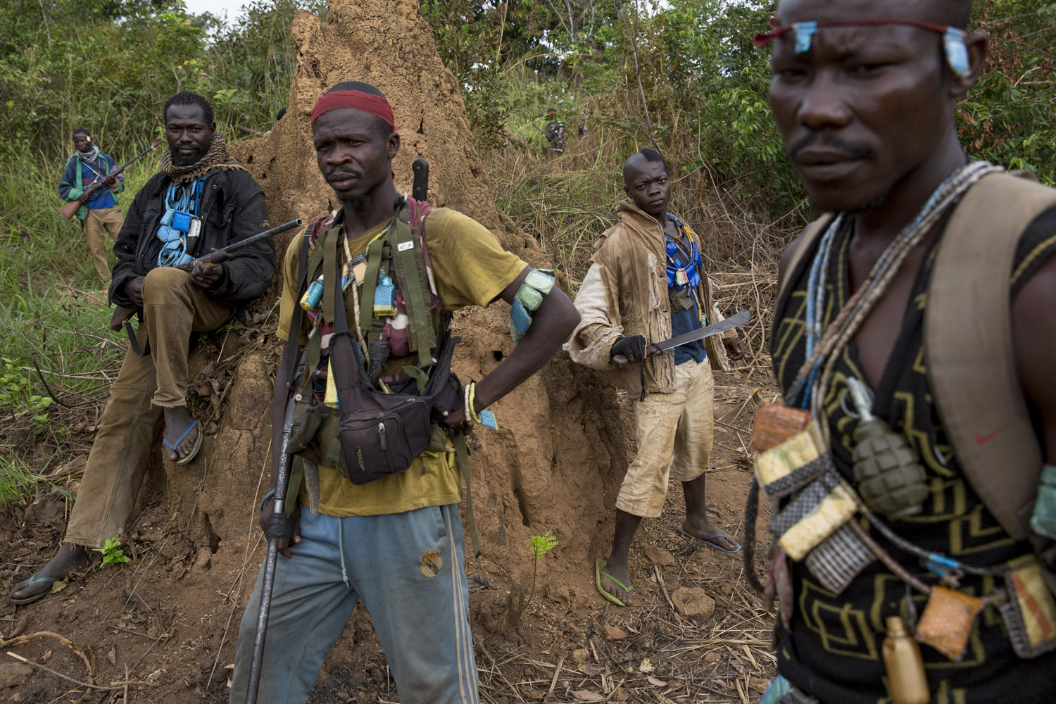 Dec. 4, 2013. A day before the attack, Anti-balaka fighters hiding in the bush around Bangui.