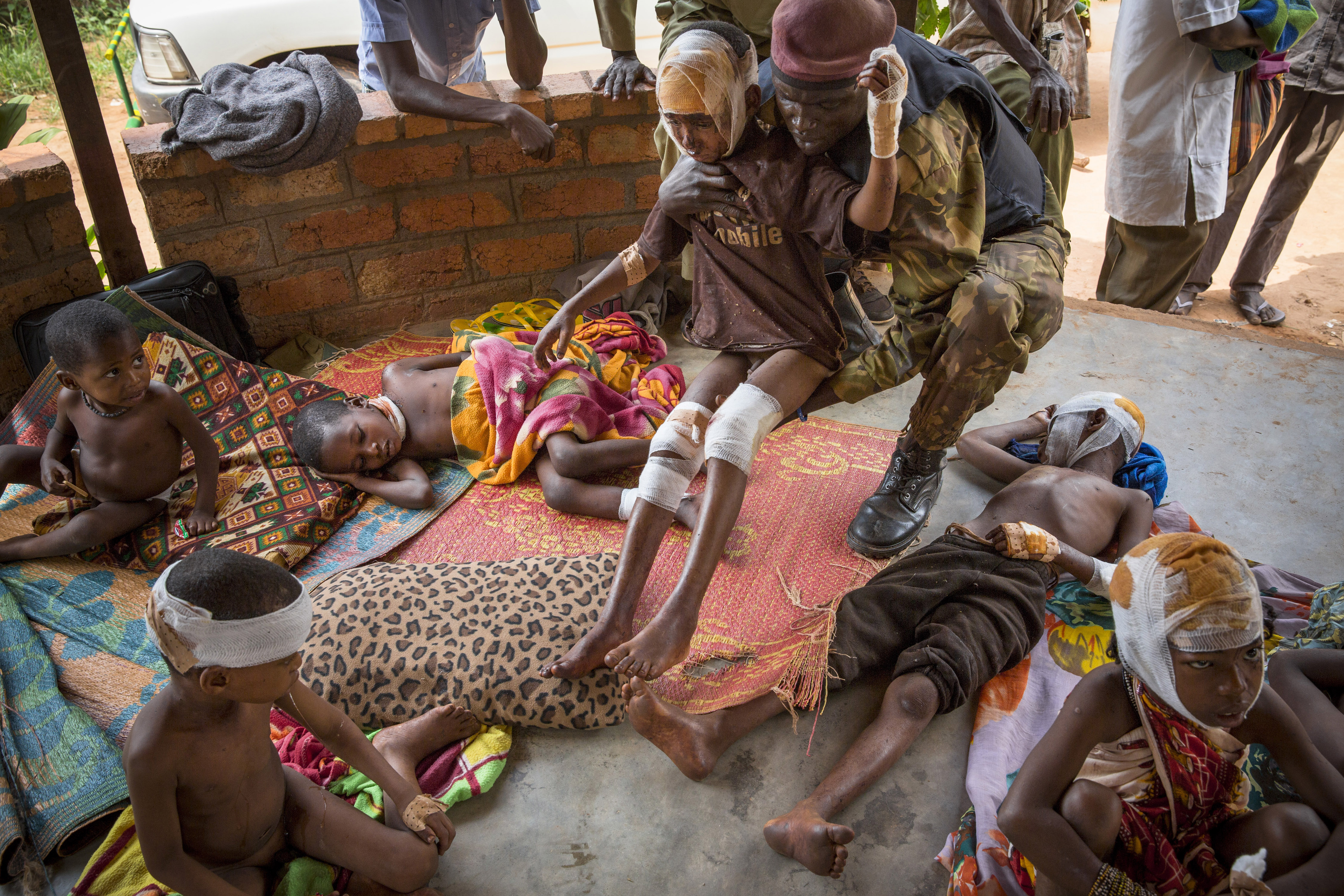 Dec. 3, 2013. Wounded Peul children in Bangui. According to the photographer, the children were kept in an army garrison for two hours before going to the hospital so that foreign journalists, government officials and a UN inspector could see and photograph them.