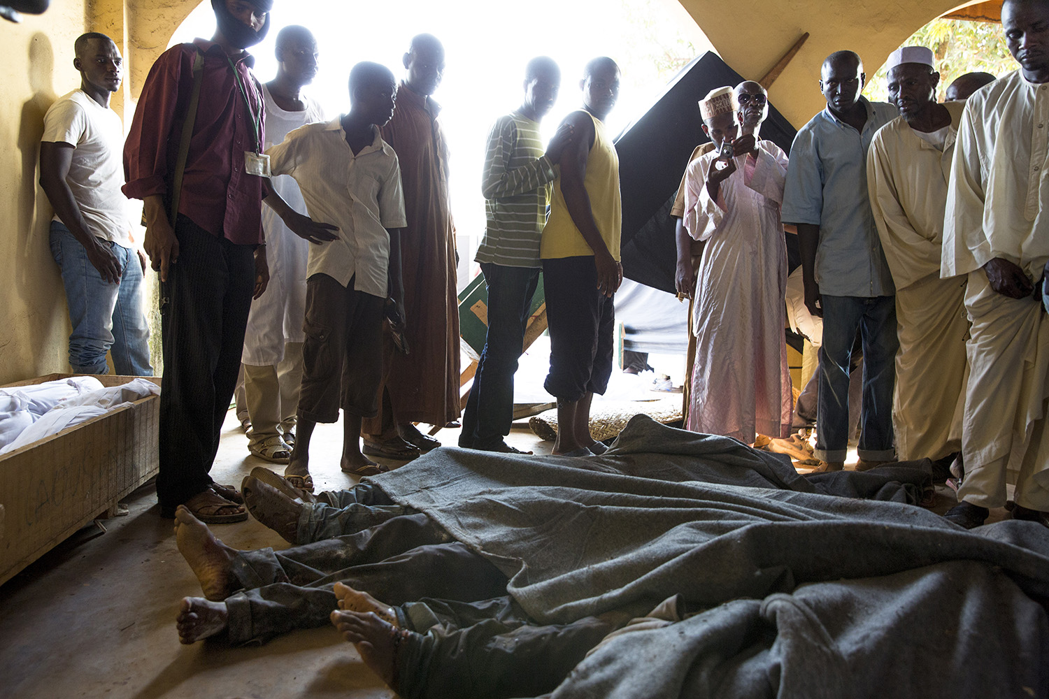 Dec. 5, 2013. 58 bodies, including 4 women, were brought to the Ali Babolo mosque following several early morning attacks by anti-balakas. Most of the dead were killed by machete.