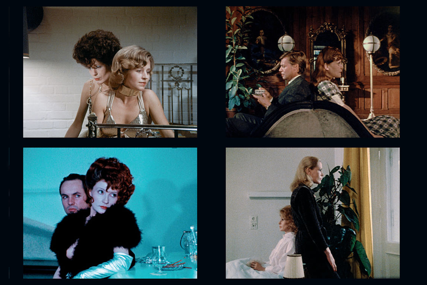 Film stills, clockwise from top left: The Bitter Tears of Petra von Kant (1972), Martha (1973), Fear of Fear (1975), World on a Wire (1973)