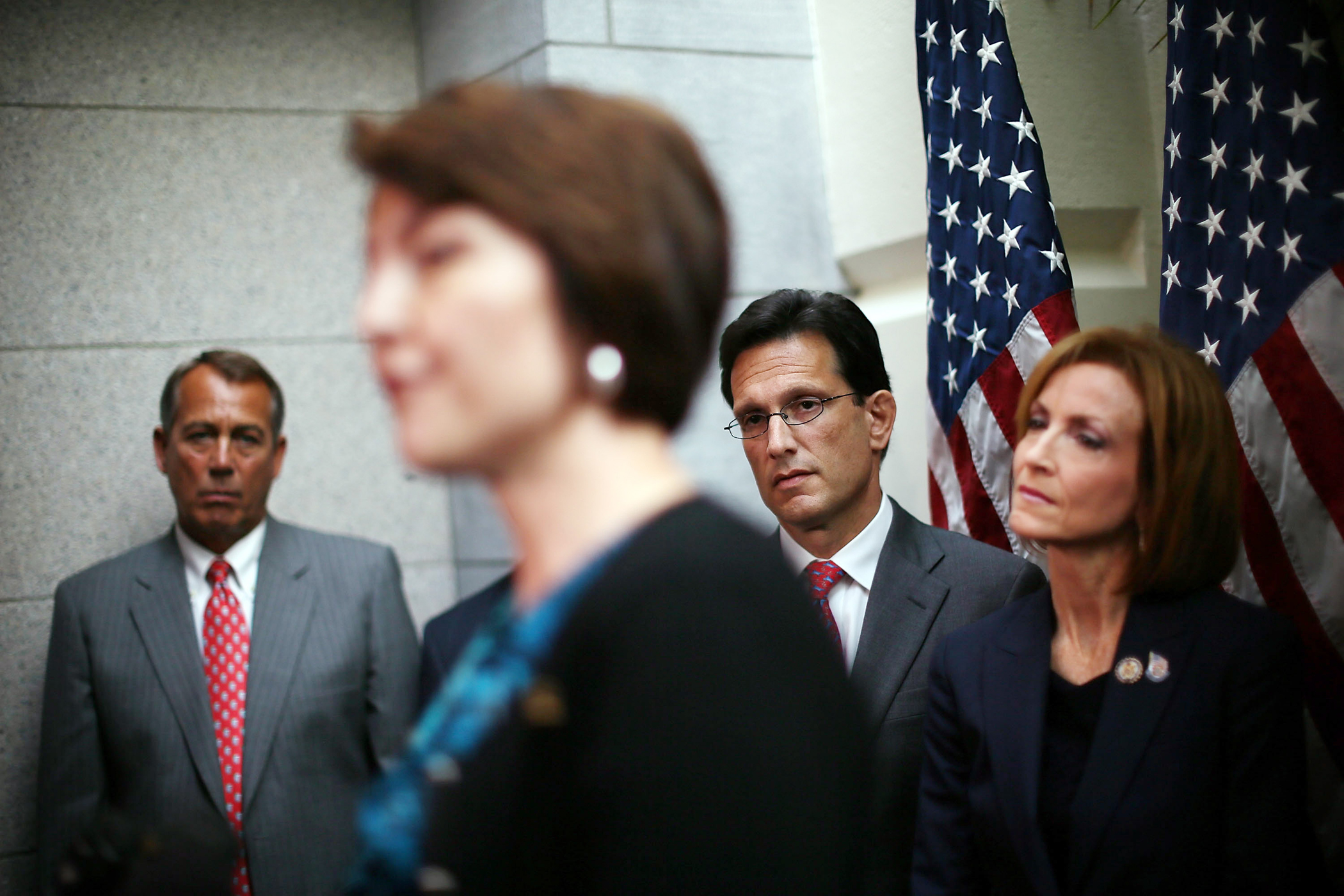 From left, Speaker of the House John Boehner, House Republican Conference vice chair Cathy McMorris Rodgers, House majority leader Eric Cantor and Representative Nan Hayworth attend a news conference on Capitol Hill on July 10, 2012