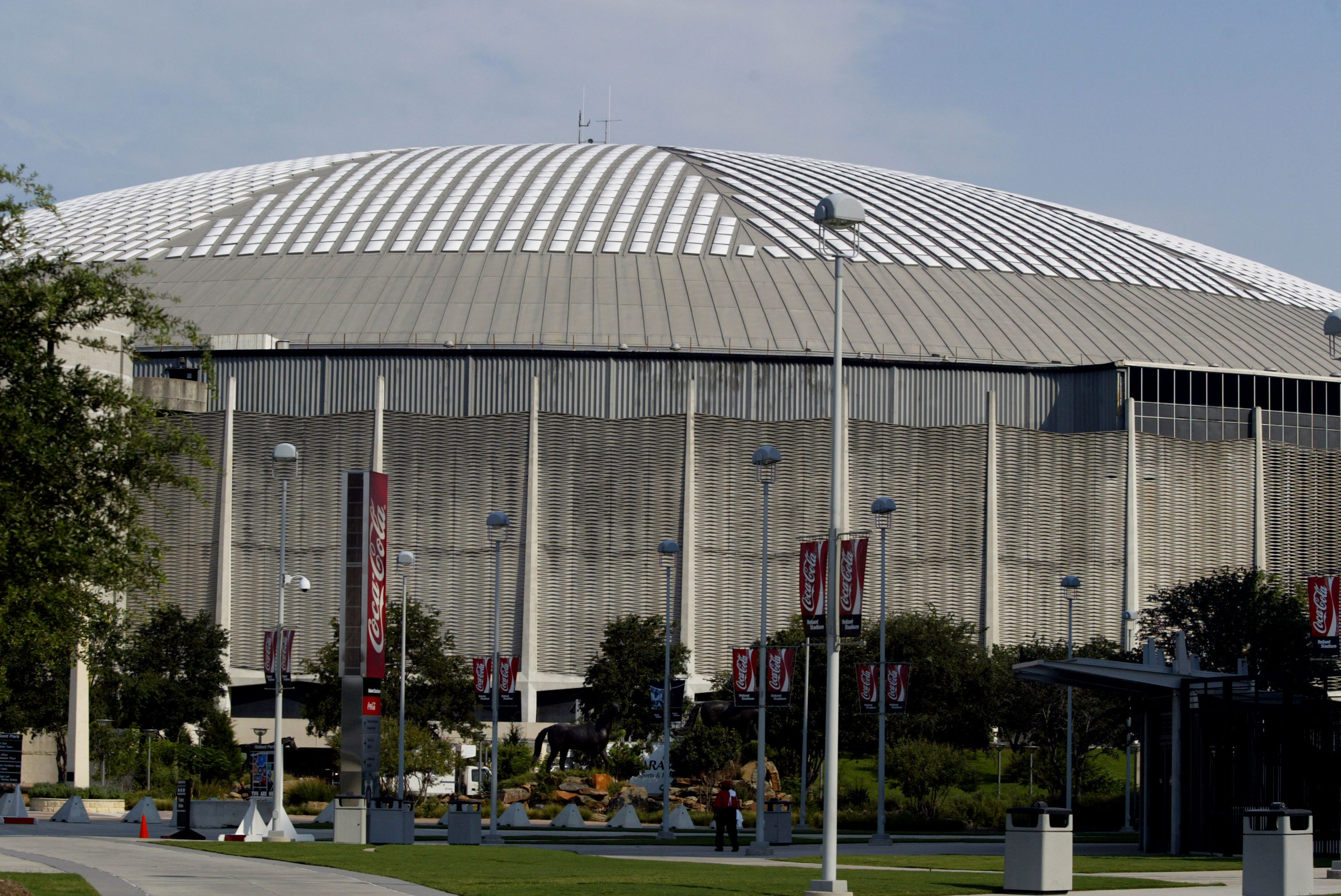 The Houston Astrodome in Houston, Texas prepares to accept some 25,000-30,000 refugees from Hurricane Katrina who were staying in the New Orleans Superdome. August 31, 2005.