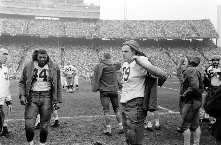 Syracuse vs. Texas, 1960 Cotton Bowl. At left is the great Ernie Davis (#44) -- the first African American to win the Heisman.