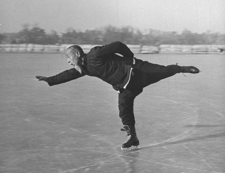 Wu Tang-shen, a 66-year-old avid ice skater in China, 1946.