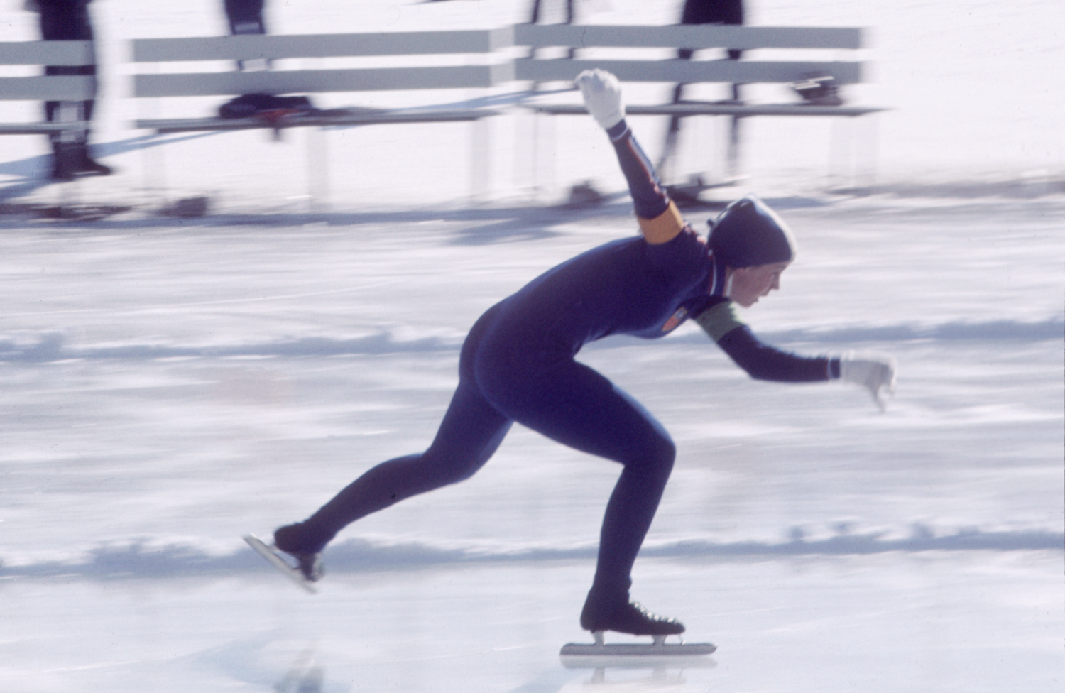 Anne Henning, 16, skating to victory in the 500-meter speed skating race at the Sapporo Winter Olympics, 1972.