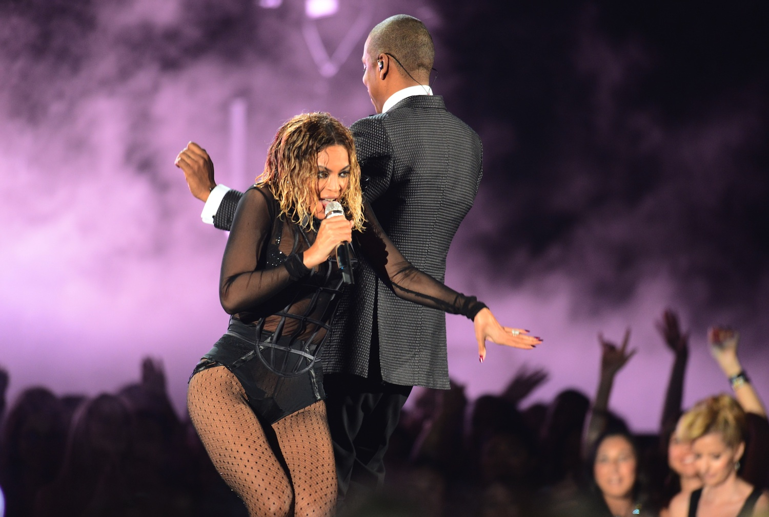 Beyonce Knowles and Jay-Z perform for the 56th Grammy Awards in Los Angeles on Jan. 26, 2014.