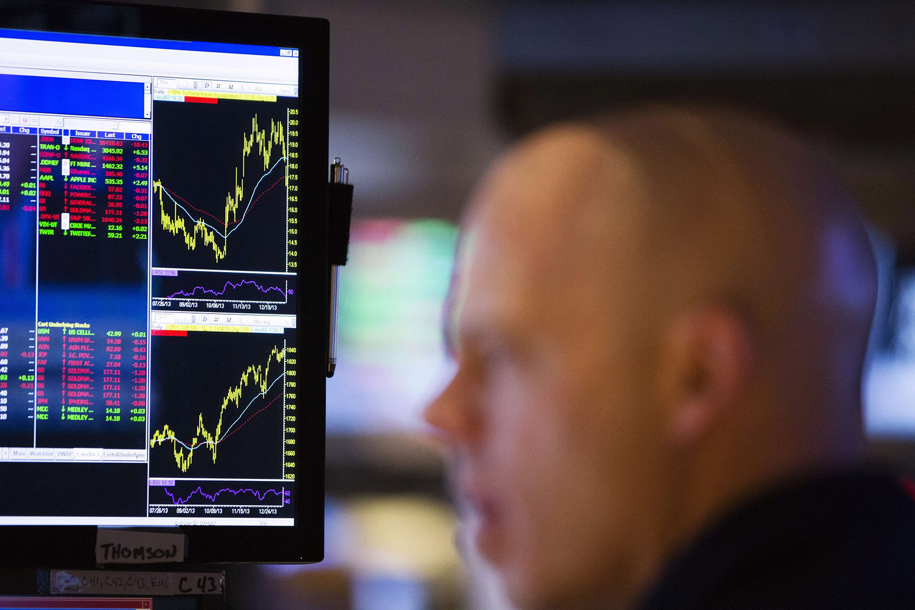 A trader works on the floor of the New York Stock Exchange in the Manhattan borough of New York, Jan. 13, 2014.