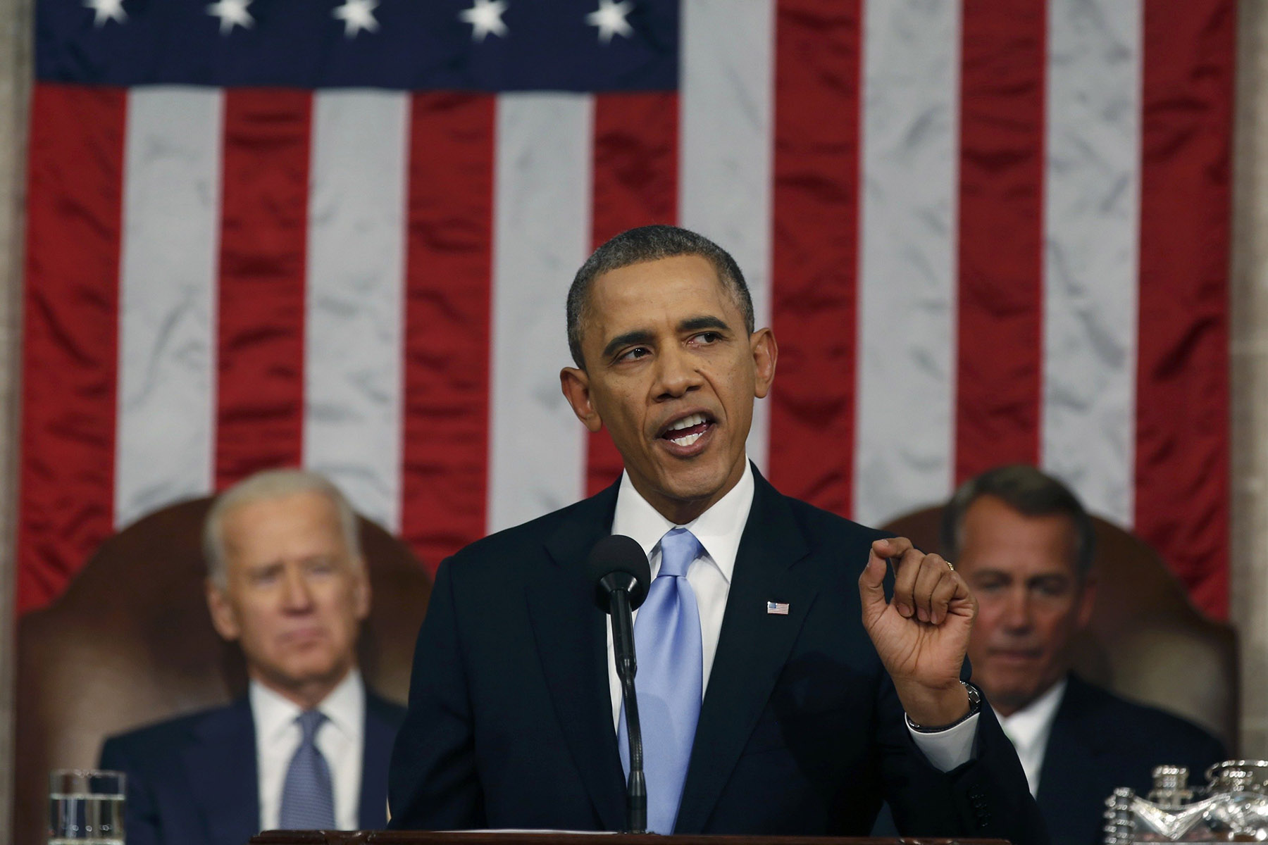 U.S. President Barack Obama delivers his State of the Union speech on Capitol Hill in Washington January 28, 2014.
