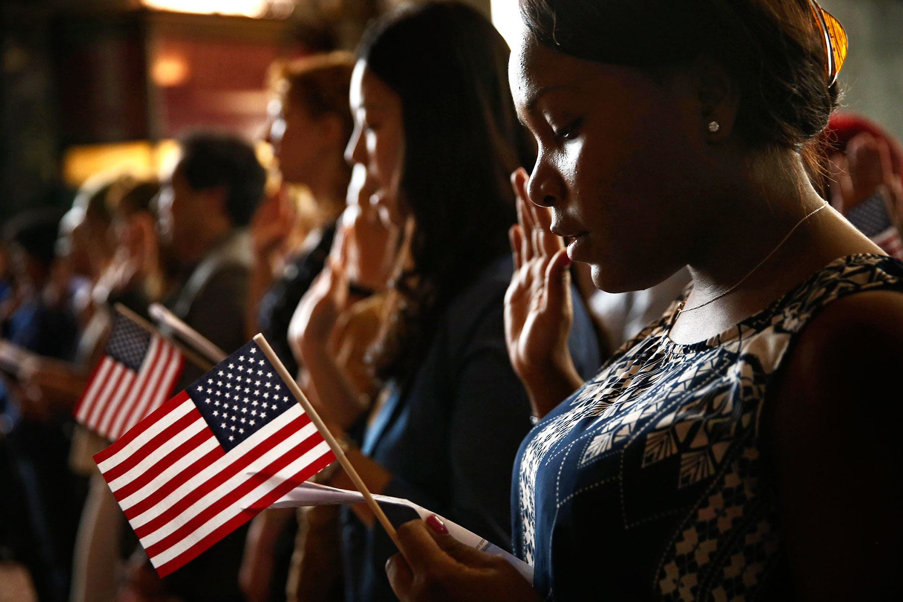 Vishaun Lawrence of Jamaica during a naturalization ceremony in Chicago last year.