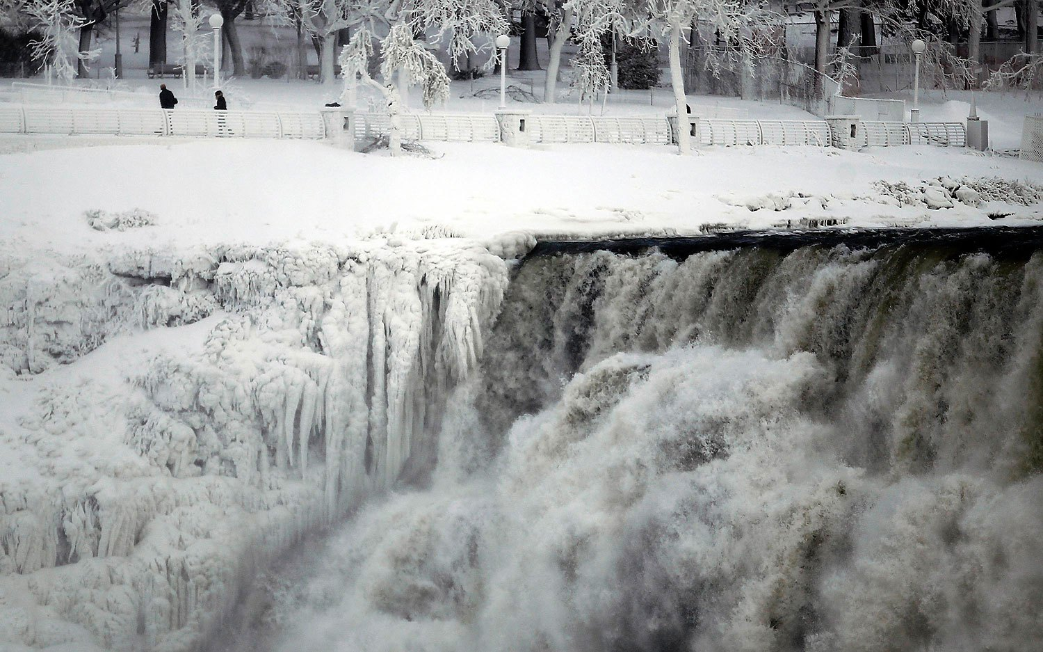 The U.S. side of the Niagara Falls is pictured in Ontario, Jan. 8, 2014.