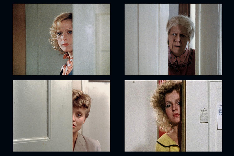 Film stills, clockwise from top left: Fear of Fear (1975), Satan's Brew (1975/76), Rio das Mortes (1970), The Merchant of Four Seasons  (1971)
