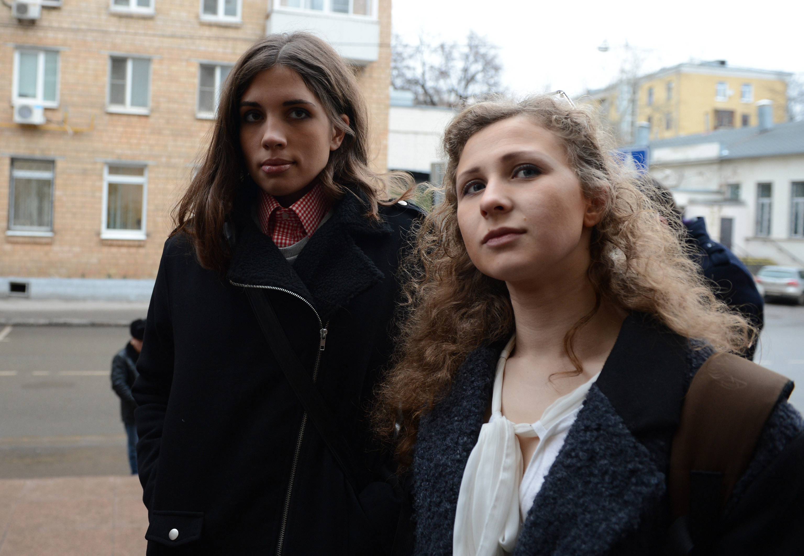 Maria Alyokhina (R) and  Nadezhda Tolokonnikova (L), members of Pussy Riot music club come to the court on January 9 to attend the  Bolotnaya trial  took action after an indignation meeting against Vlaidmir Putin at Bolotnaya Spuare in 2012, Moscow, Russia