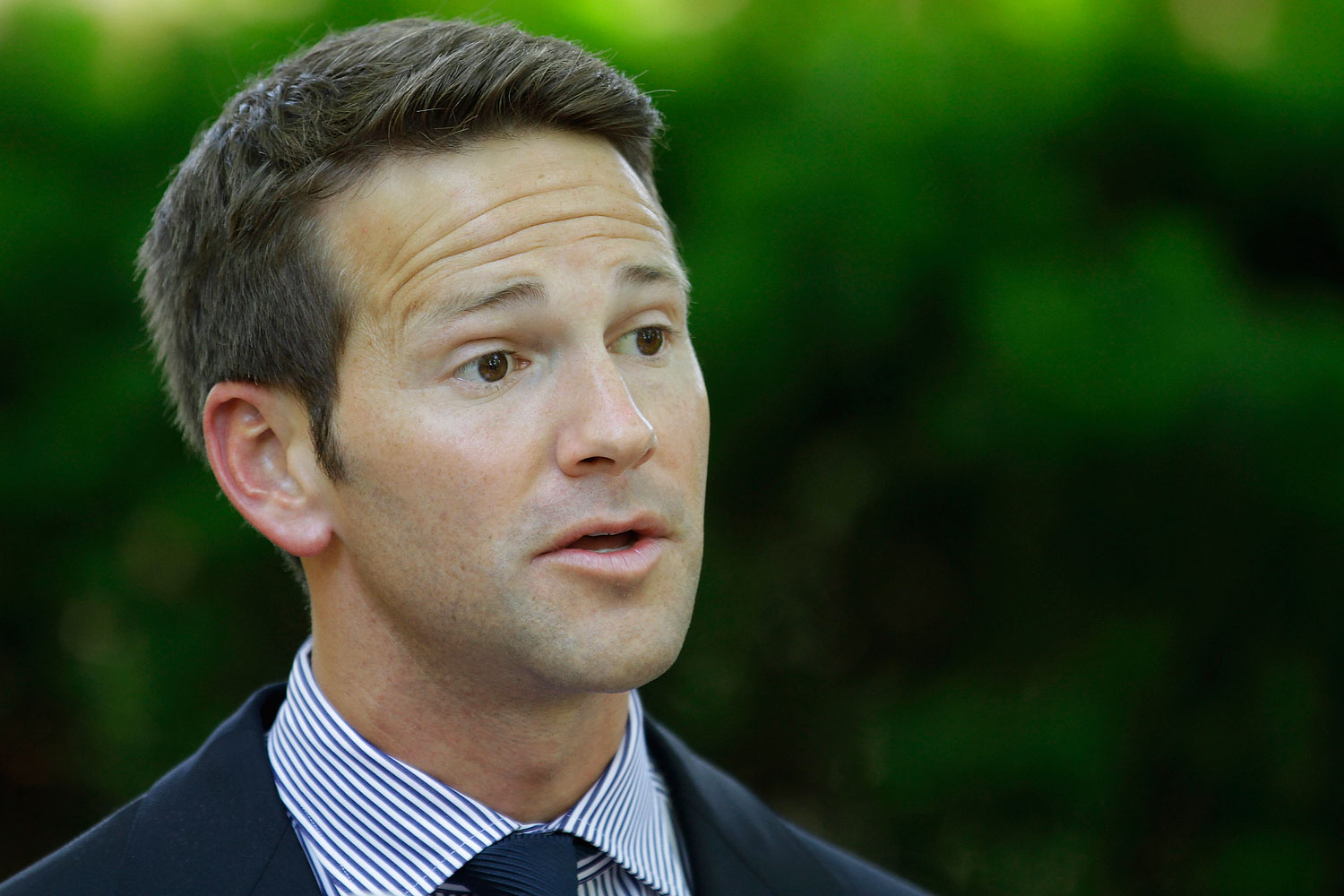 Rep. Aaron Schock, R-Ill, is seen speaking at the Illinois Governor's Mansion Thursday, June 14, 2012  Springfield, Ill.