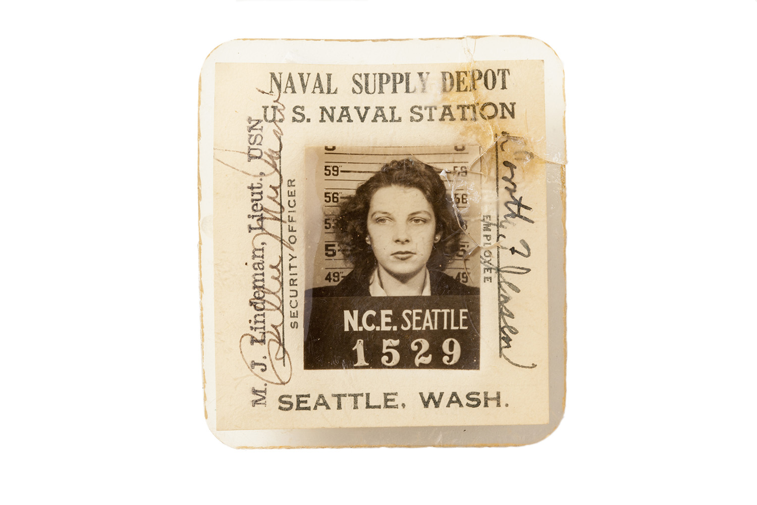 The ID badge of an employee at the Naval Supply Depot at the U.S. Naval Station in Seattle, Wash.