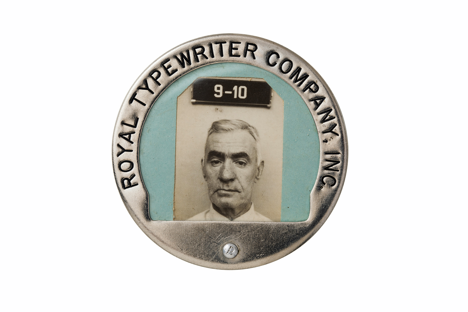 The ID badge of an employee at the Royal Typewriter Company.