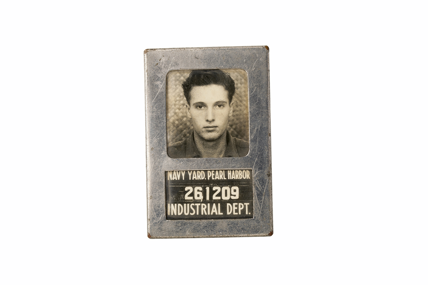 The ID badge of an employee at the Pearl Harbor Navy Yard.