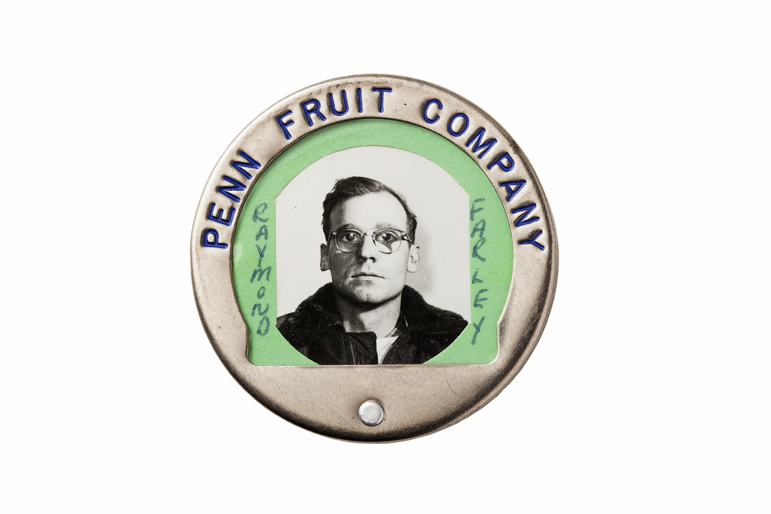 The ID badge of an employee at the Penn Fruit Company.