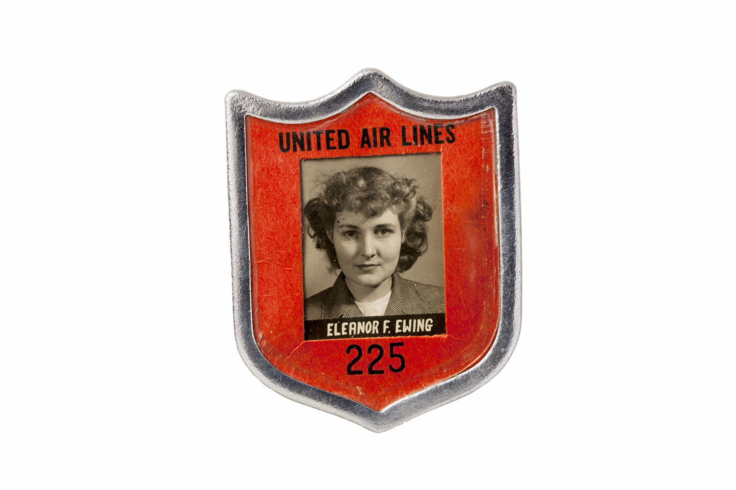 The ID badge of an employee at United Air Lines.