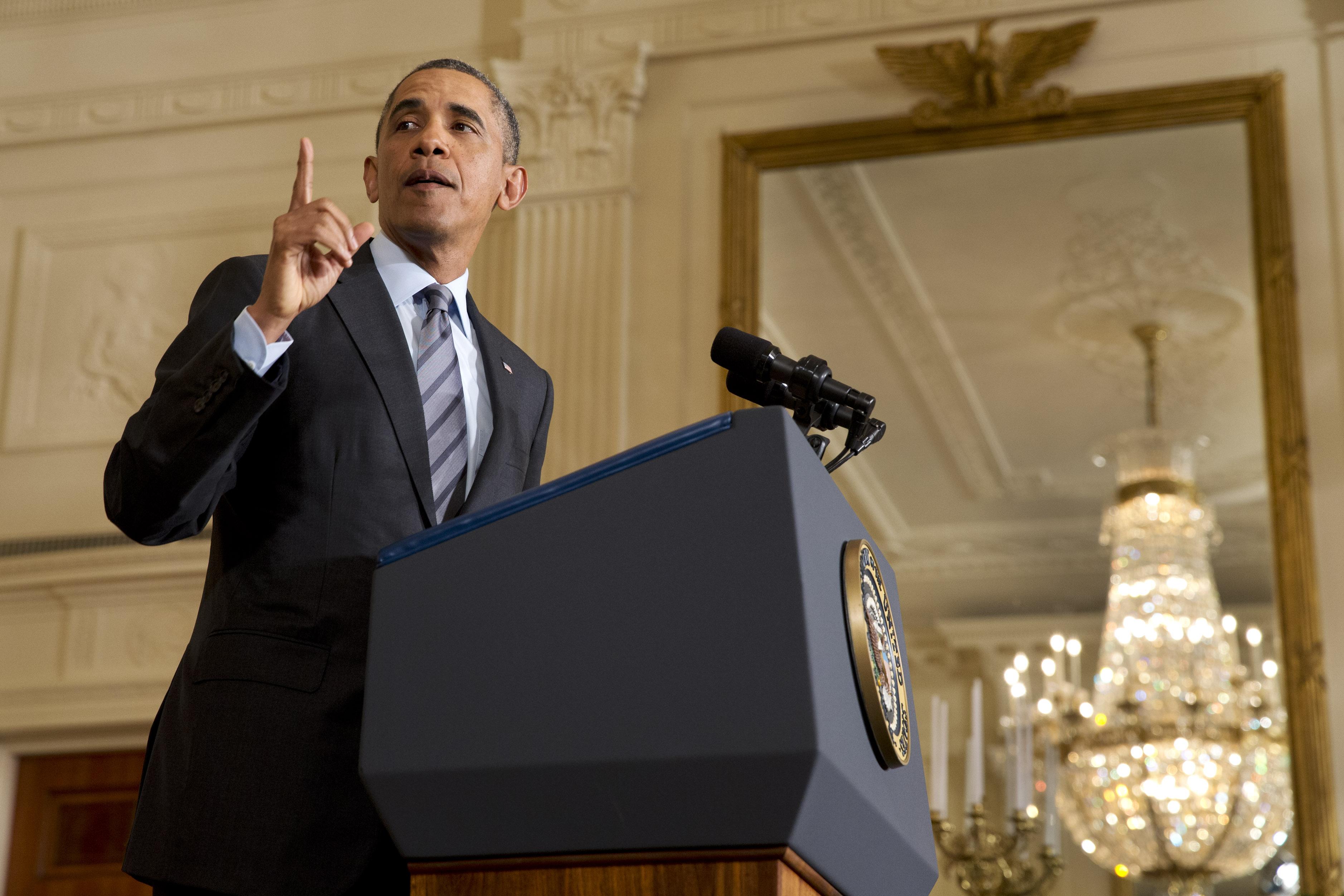 President Barack Obama in the East Room of the White House on Thursday, Jan. 9, 2014