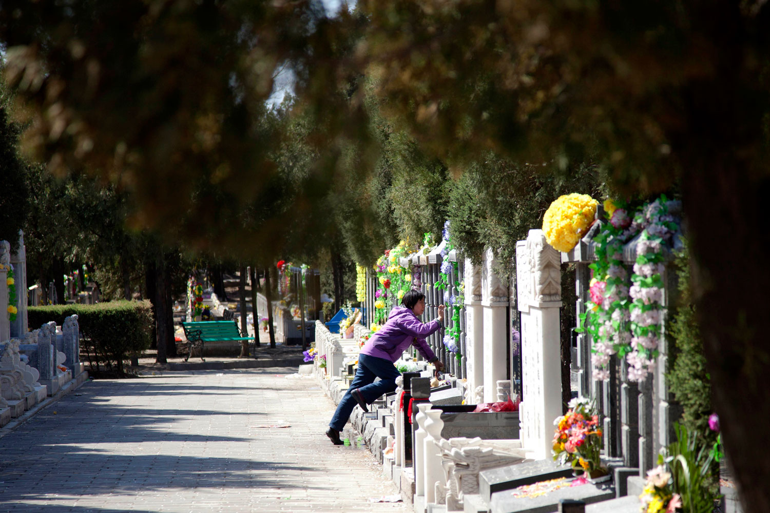 A lady cleans a gravestone two days before Tomb-Sweeping Day at Babaoshan Cemetery on April 3, 2011 in Beijing, China