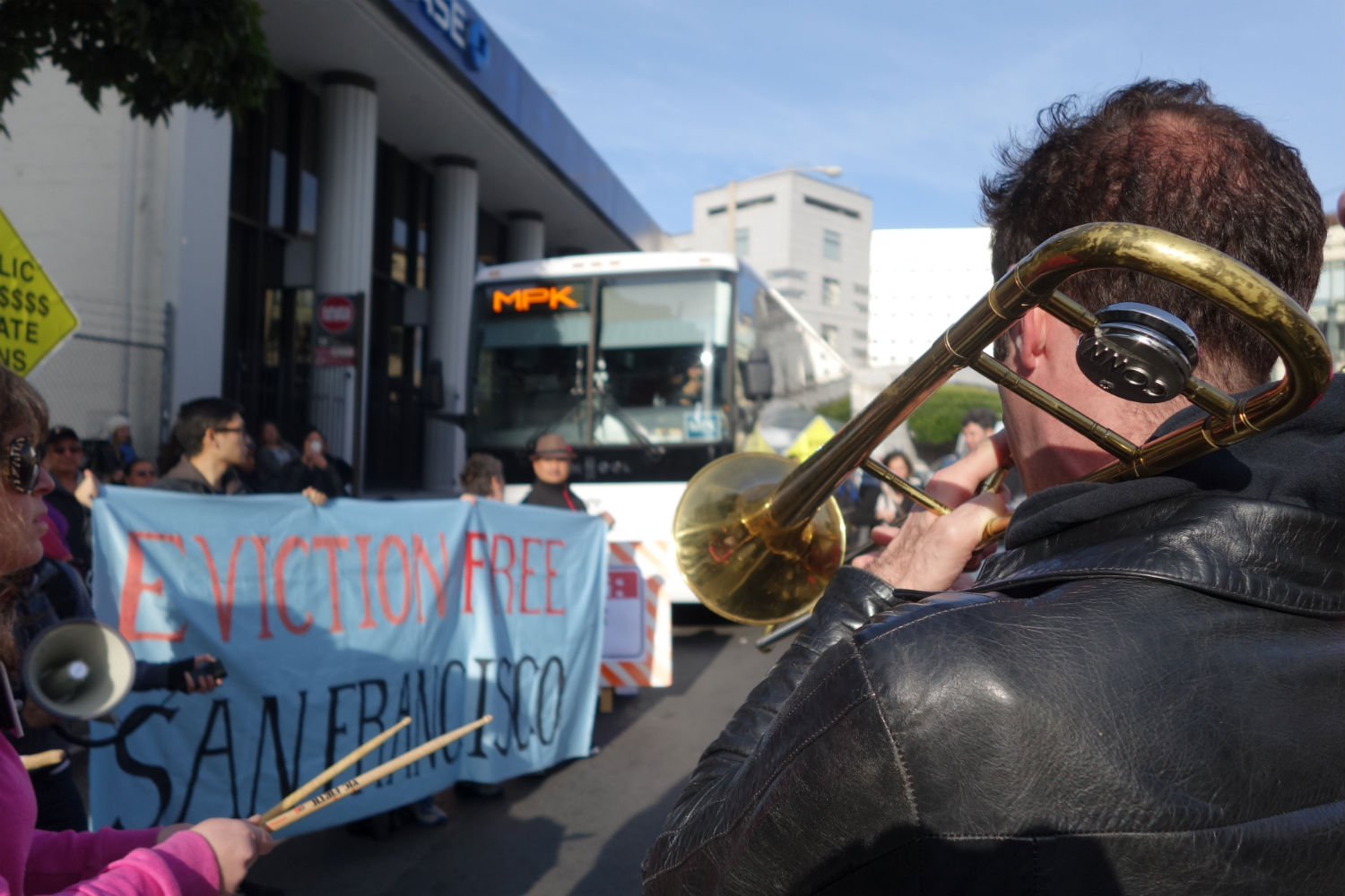 Anti-eviction protestors, including a band called the Brass Liberation Orchestra, block a private shuttle taking Facebook employees to the company headquarters in Menlo Park, Calif. on Jan. 21, 2013.