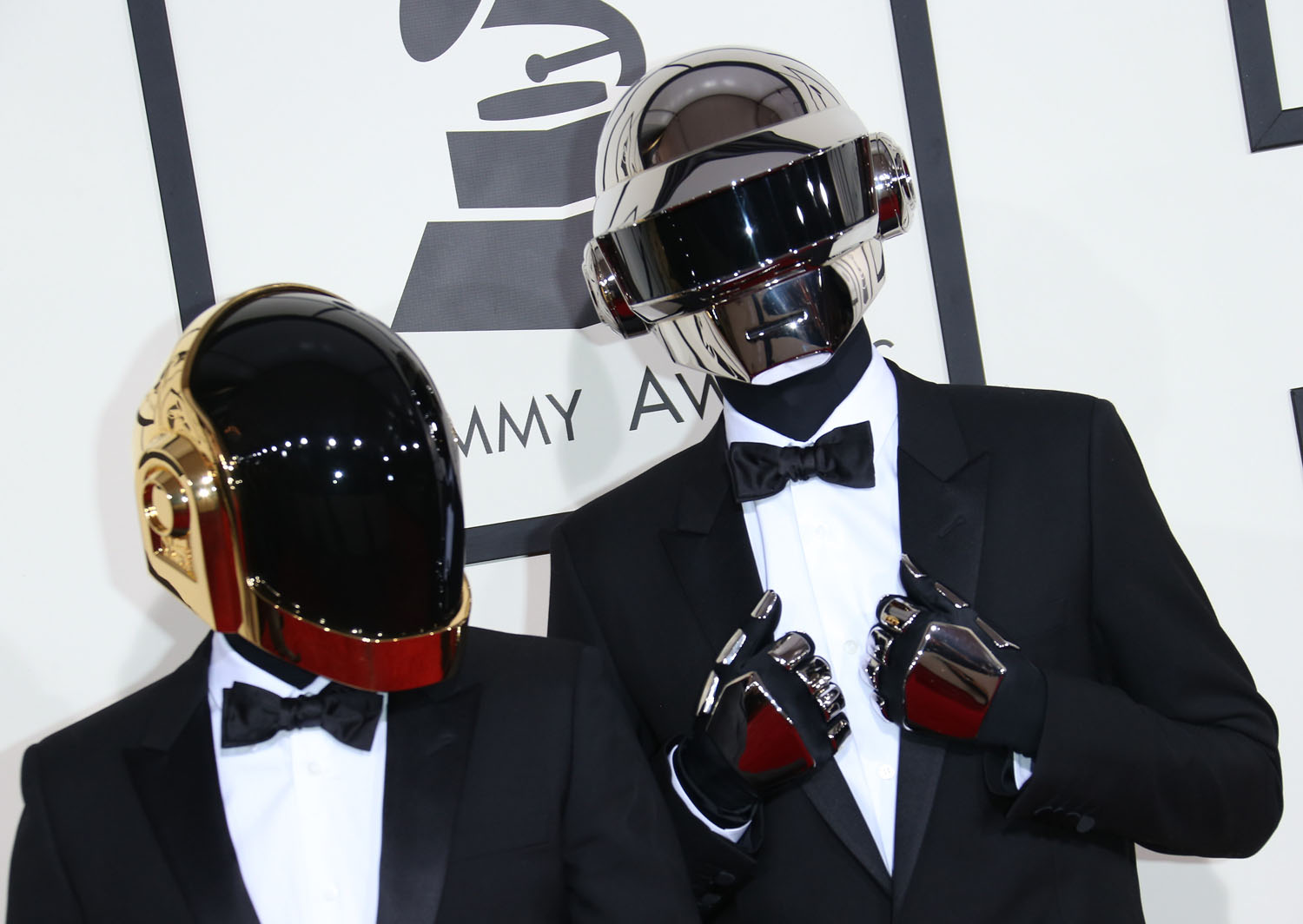 Thomas Bangalter and Guy-Manuel de Homem-Christo of 'Daft Punk' arrive at the 56th Annual GRAMMY Awards at Staples Center on January 26, 2014 in Los Angeles, California.