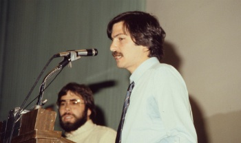 Steve Wozniak (in background) and Steve Jobs at the BCS's Applefest '82