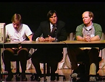 Bill Atkinson, Steve Jobs and Bruce Horn during the Q&A session