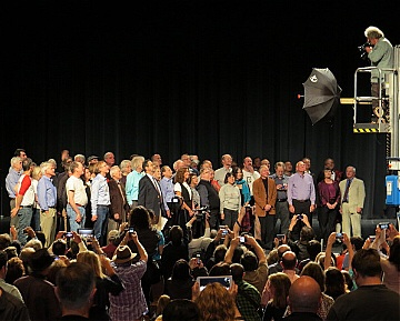 Members of the team that created the Mac --  including several who participated in the 1984 BCS meeting -- gather onstage during the Mac@30 event at the Flint Center in  Cupertino on January 25, 2014