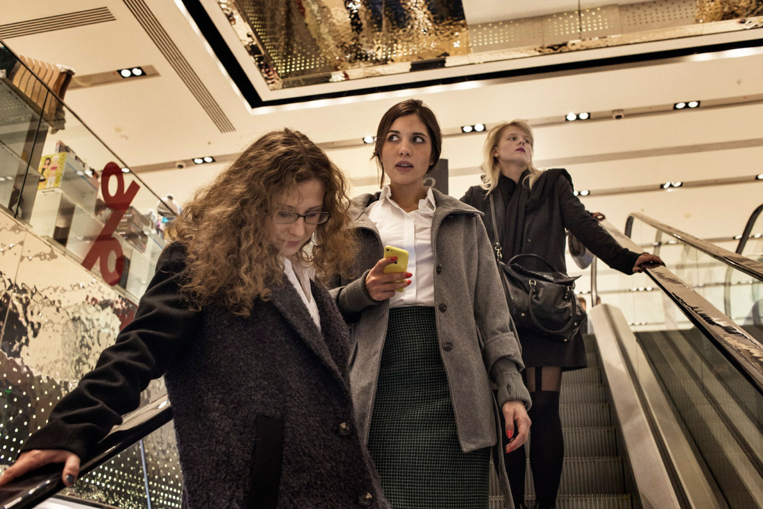 Maria Alyokhina and Nadezhda Tolokonnikova go shopping in Moscow four days after their release from a Russian prison.