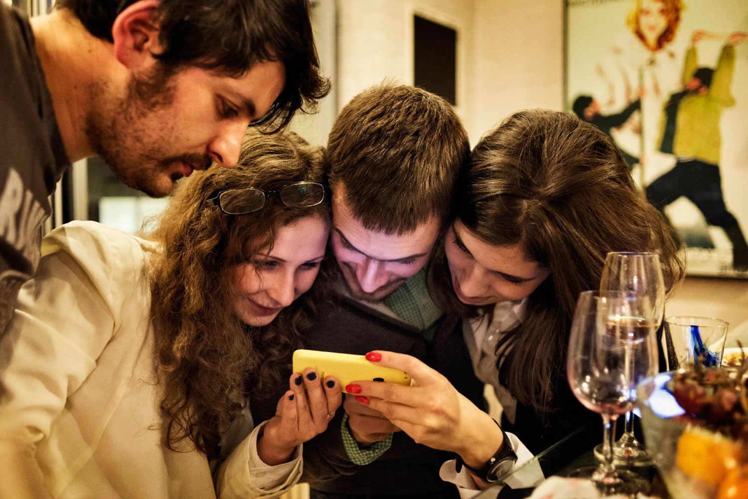 """Maxim Pozdorovkin (Left), Maria Alyokhina, Pyotr Verzilov and Nadezhda Tolokonnikova react to the government cancellation of the first public screening in Moscow of a documentary about Pussy Riot. The film, """"Pussy Riot: A Punk Prayer,"""" was supposed to have been screened at the Gogol center in Moscow on December 29, less than a week after two members of Pussy Riot were released from prison."""
