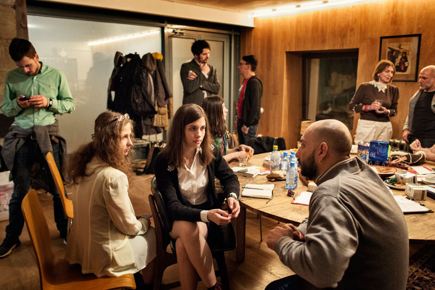 Maria Alyokhina and Nadezhda Tolokonnikova talk to Kirill Serebrennikov, one of the directors of the Gogol Center, where the first public screening in Russia of a documentary about the band was cancelled by the government at the last minute.