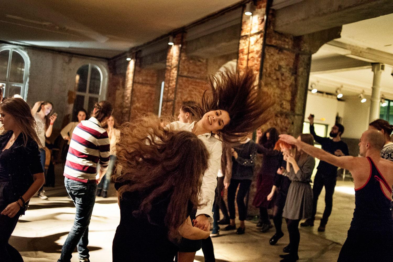 Maria Alyokhina and Nadezhda Tolokonnikova dance at the party at the Gogol Center in Moscow.