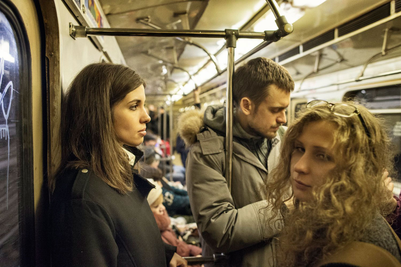 Nadezhda Tolokonnikova and   Maria Alyokhina take a ride on the Moscow subway after their release.